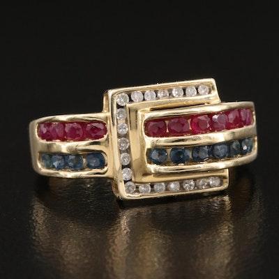 14K Channel Set Diamond, Ruby and Sapphire Buckle Ring