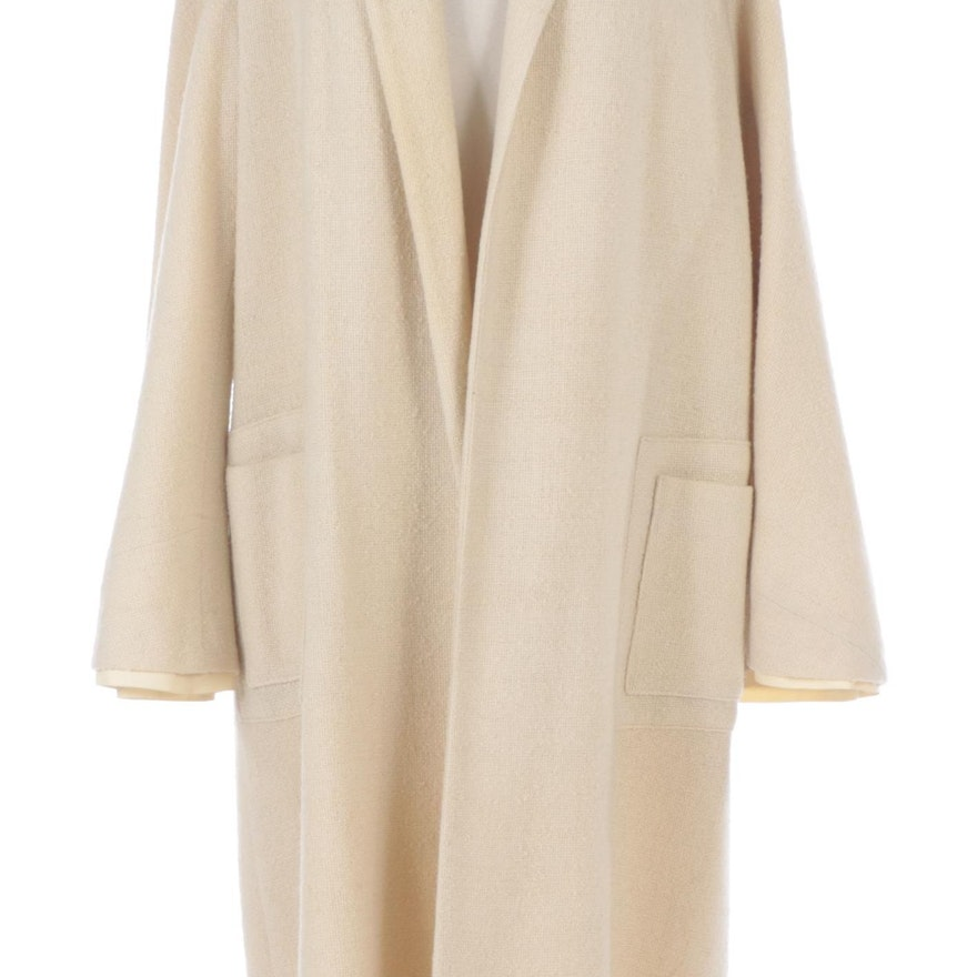Natural Linen Kimono Sleeve Coat with Neck Scarf from Jenny, 1950s