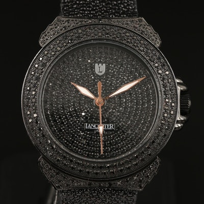 Lancaster Pillola Deco 4.20 CTW Black Diamond Stainless Steel Quartz Wristwatch