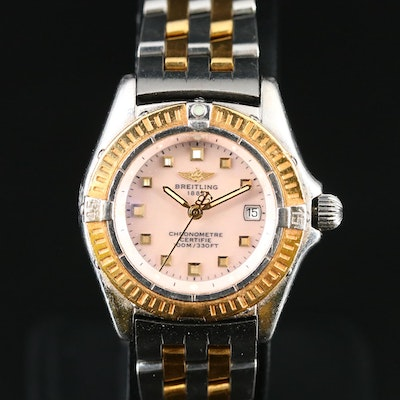 Breitling Callistino Pink MOP Dial 18K and Stainless Steel Wristwatch