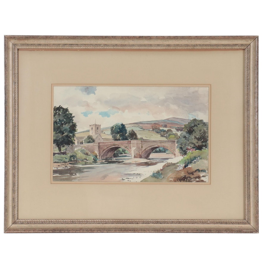 """Walter Horsnell Watercolor Painting """"Grinton in Swaledale,"""" Late 20th Century"""
