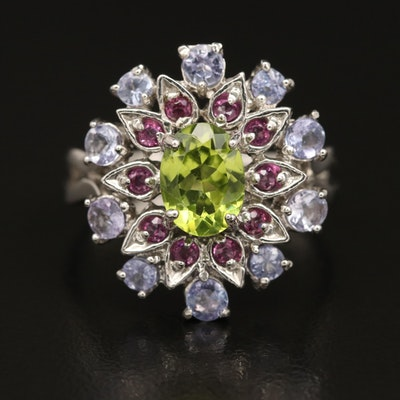 Sterling Peridot, Tanzanite and Garnet Floral Motif Ring