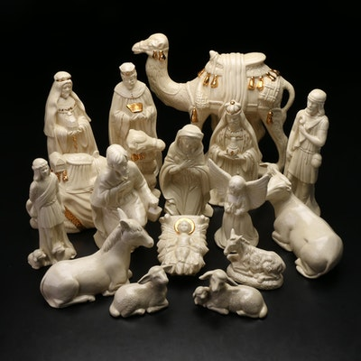 Glazed and Gilt-Accented Ceramic Nativity Scene Figurines