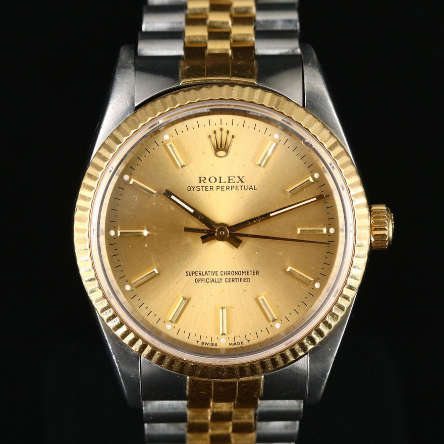 1989 Rolex Oyster Perpetual 18K Gold and Stainless Steel Automatic Wristwatch