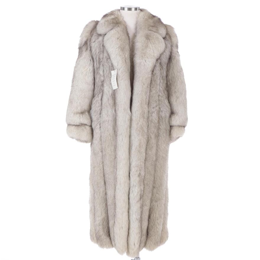Blue Fox Fur Full Pelt Full-Length Coat