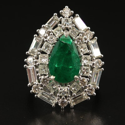 14K 2.15 CT Emerald and 3.22 CTW Diamond Ring