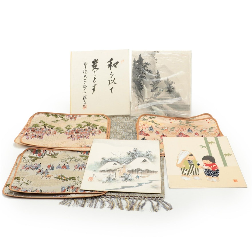 Japanese Watercolor Paintings and Calligraphy with Placemats