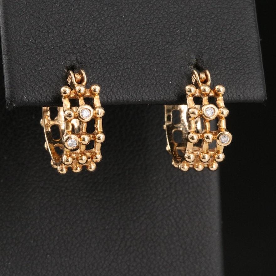 14K Diamond Openwork Hoop Earrings
