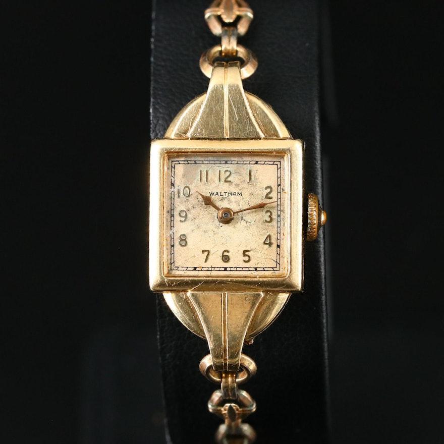 1937 Waltham 14K Yellow Gold Stem Wind Wristwatch