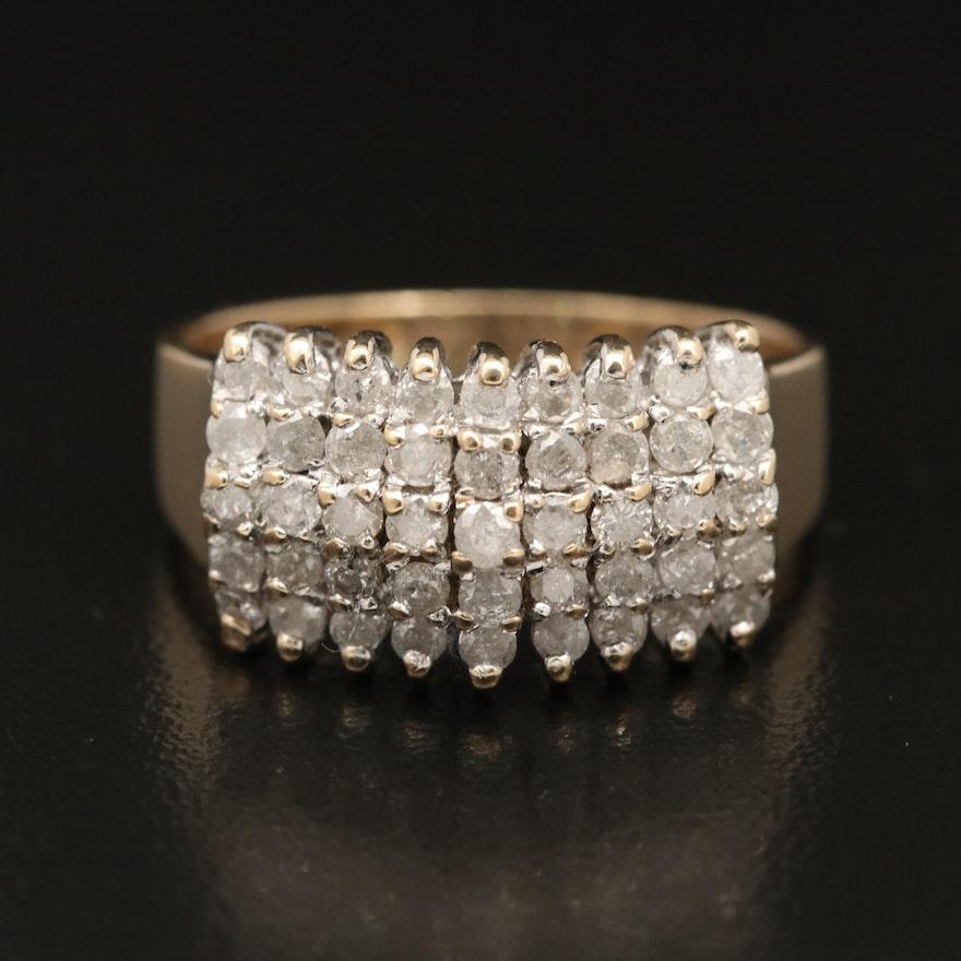 14K 1.00 CTW Diamond Cluster Band