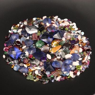 Loose Mixed Cut Boulder Opal, Tourmaline and Glass