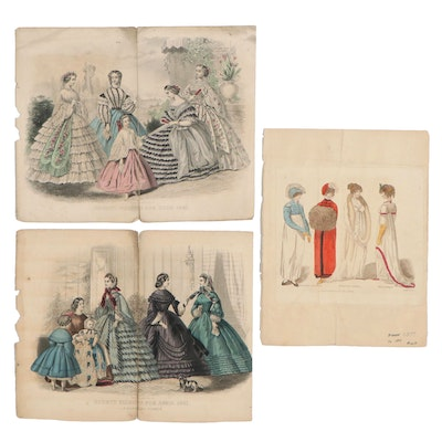 Hand-Colored Fashion Engravings, Early and Mid-19th Century