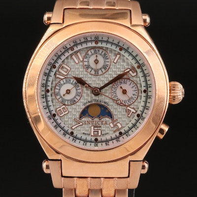 Invicta Rose Gold Tone Mother of Pearl Dial Accents Wristwatch