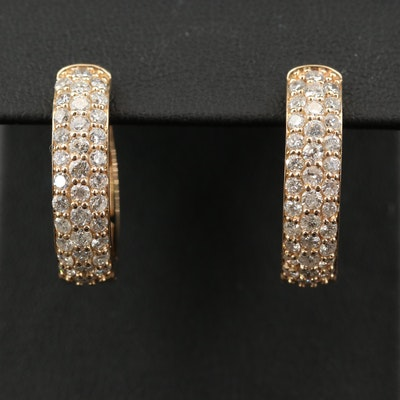 14K 2.54 CTW Pavé Diamond Hoop Earrings