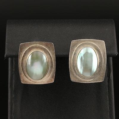 Desert Rose Trading Sterling Bezel Set Mabé Pearl Earrings