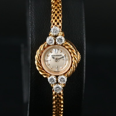 Vintage Jaeger-LeCoultre Diamond and 18K Back Wind Wristwatch