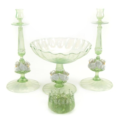 Venetian Salviati Style Green Blown Glass Candlesticks, Compote, and Flower Frog