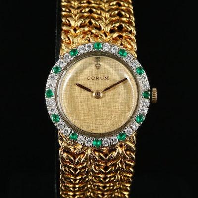 18K Corum Diamond and Emerald Stem Wind Wristwatch