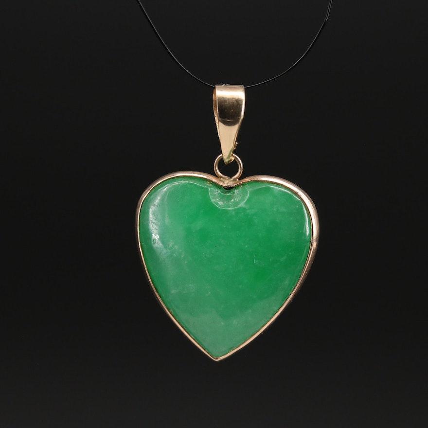 10K Jadeite Heart Pendant