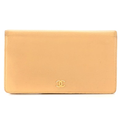 Chanel Continental Wallet in Beige Leather