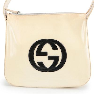 Gucci GG Logo Shoulder Bag in Ivory and Black Glazed Leather