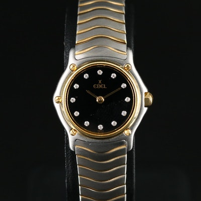 Ebel Classic Wave Diamond Dial 18K Gold and Stainless Steel Quartz Wristwatch