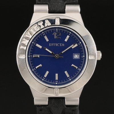 Invicta Blue Dial with Date Stainless Steel Wristwatch