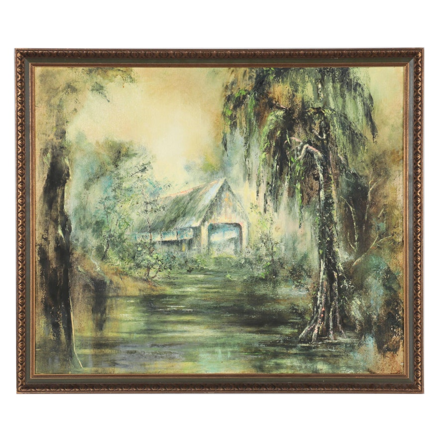 Abstract Oil Painting of Covered Bridge, 1968