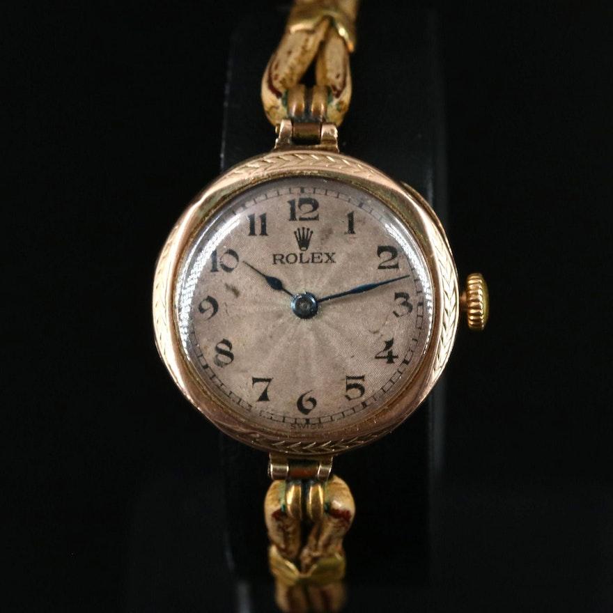 1928 Rolex 9K Yellow Gold Stem Wind Wristwatch