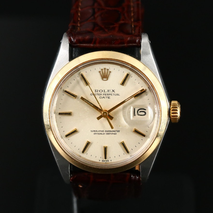 1969 Rolex Oyster Perpetual Date 14K and Stainless Steel Wristwatch