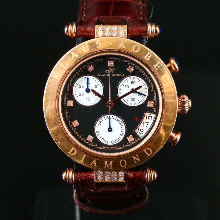 Klaus-Kobec Diamond Stainless Steel Chronograph Wristwatch