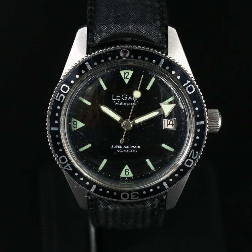 Vintage LeGant Skin Diver Stainless Steel Automatic Wristwatch