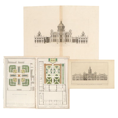 Architectural and Floor Plan Engravings, Including Colen Campbell Plate