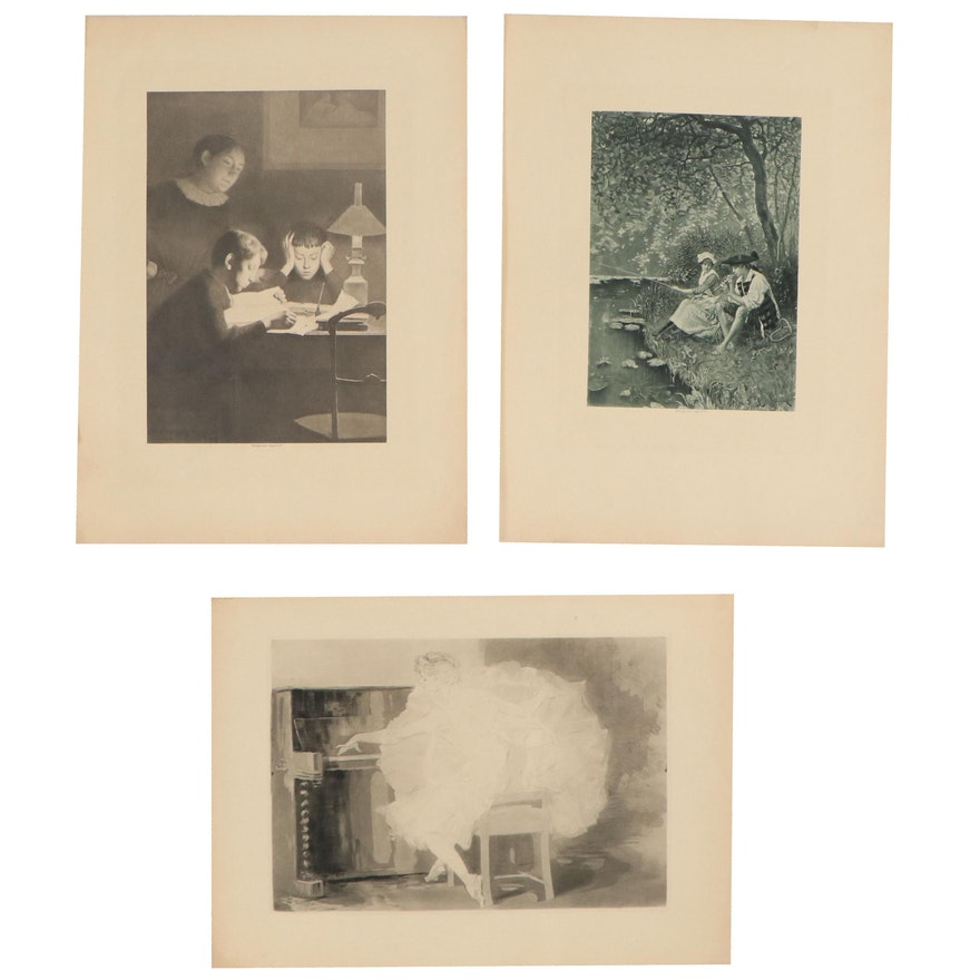 Figural Photogravures Including After Charles-Paul Renouard, 20th Century