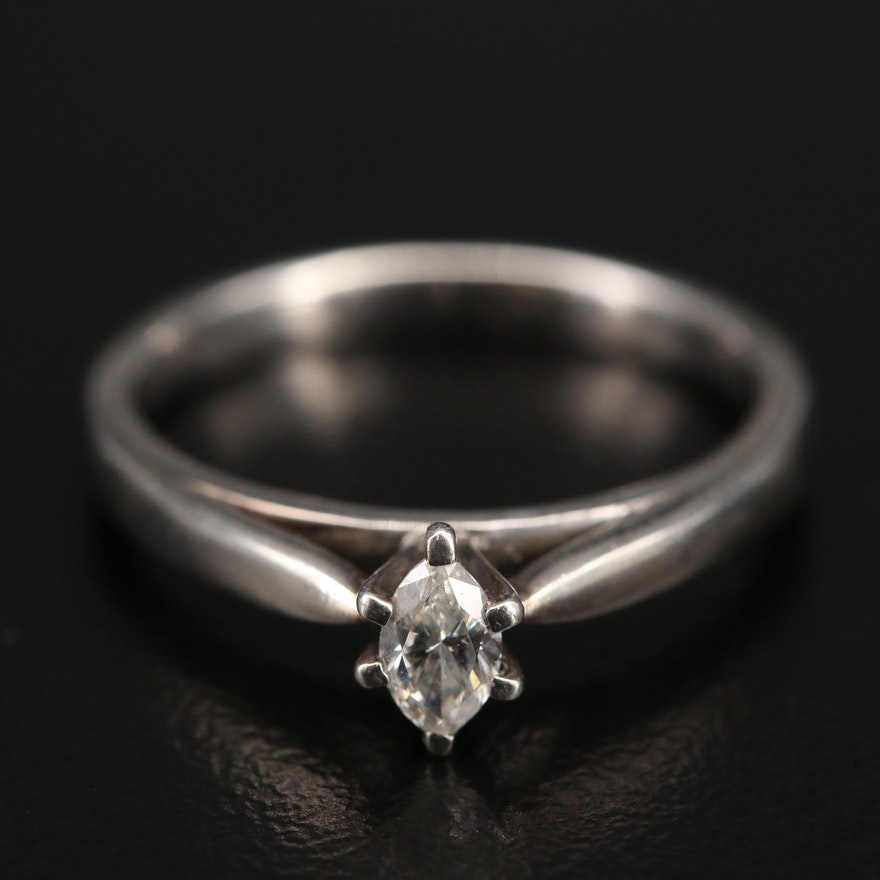 """Sterling """"Platinaire"""" Diamond Solitaire Ring"""