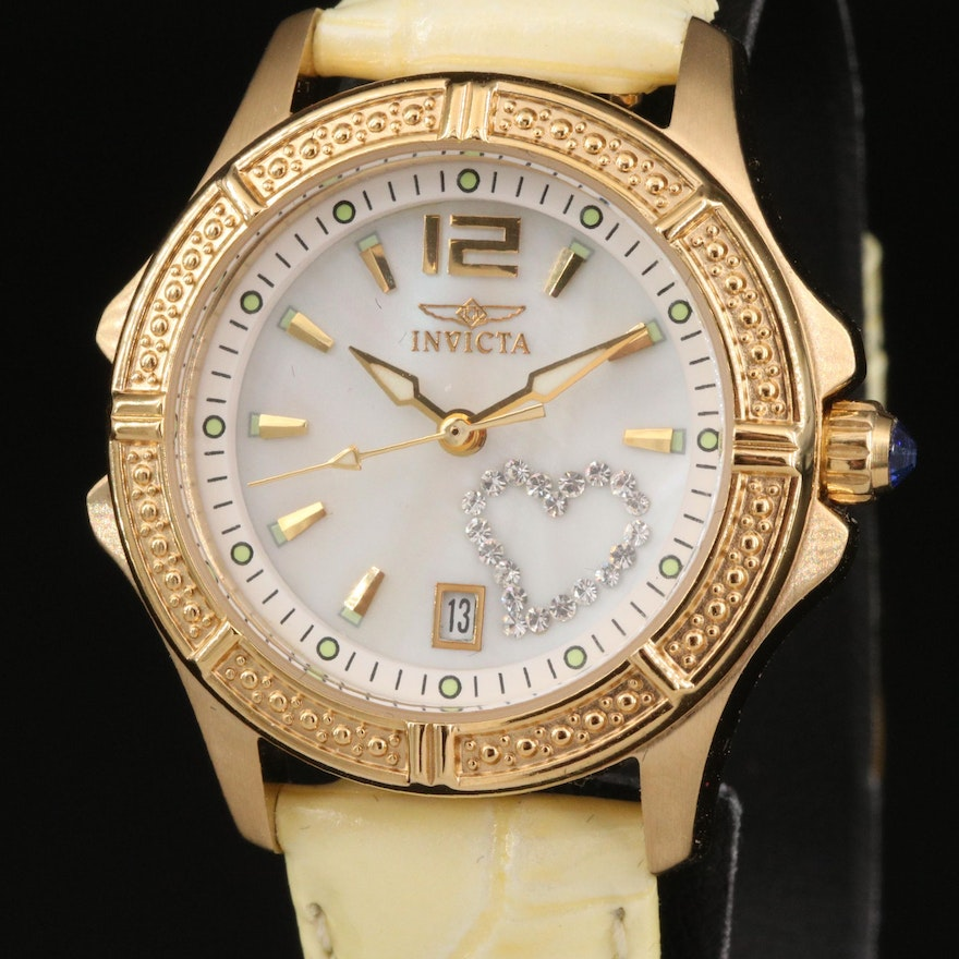 Invicta Wildflower Wristwatch with Mother of Pearl Dial and Glass Crystals