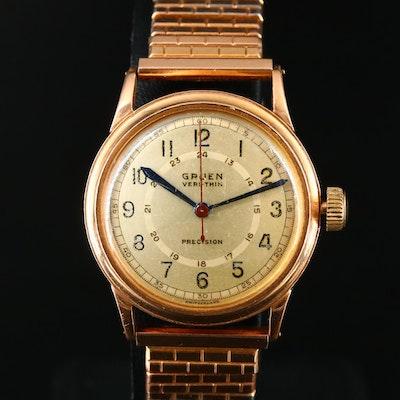Vintage Gruen Veri-Thin 14K Gold Stem Wind Wristwatch