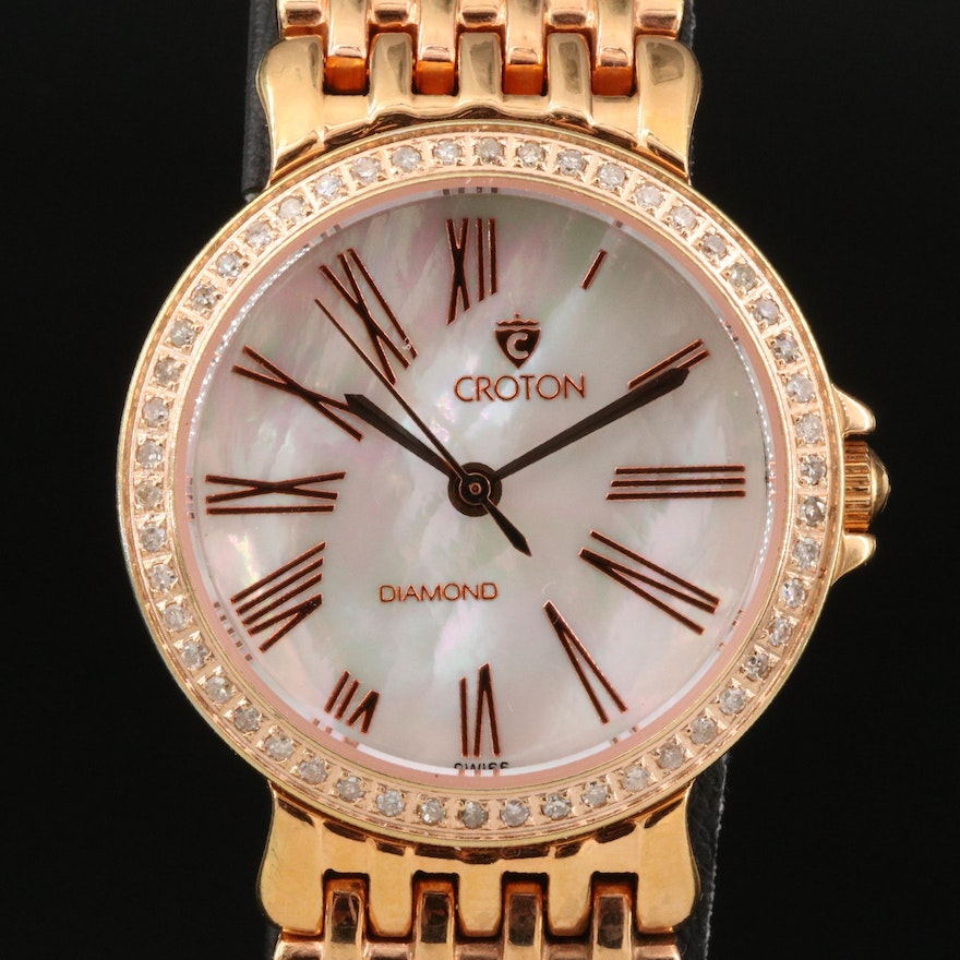 Croton Diamond and Mother of Pearl Rose Gold Tone Quartz Wristwatch