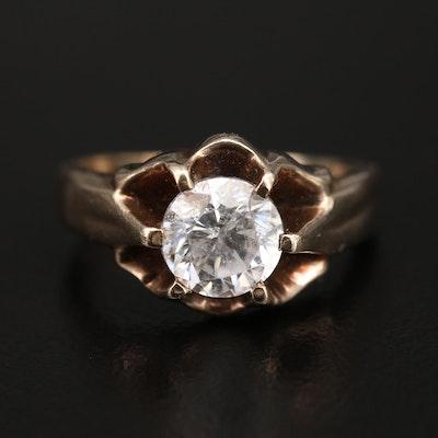 Vintage 10K Cubic Zirconia Belcher Ring