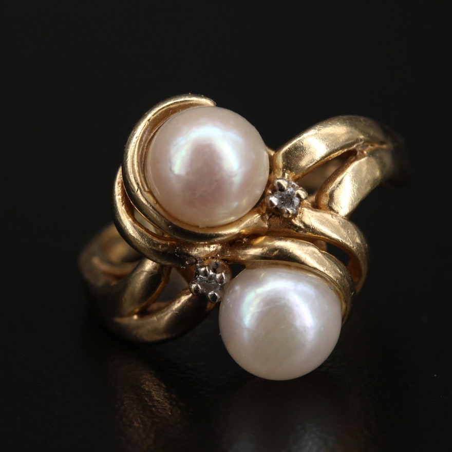 Vintage 14K Pearl and Diamond Bypass Ring
