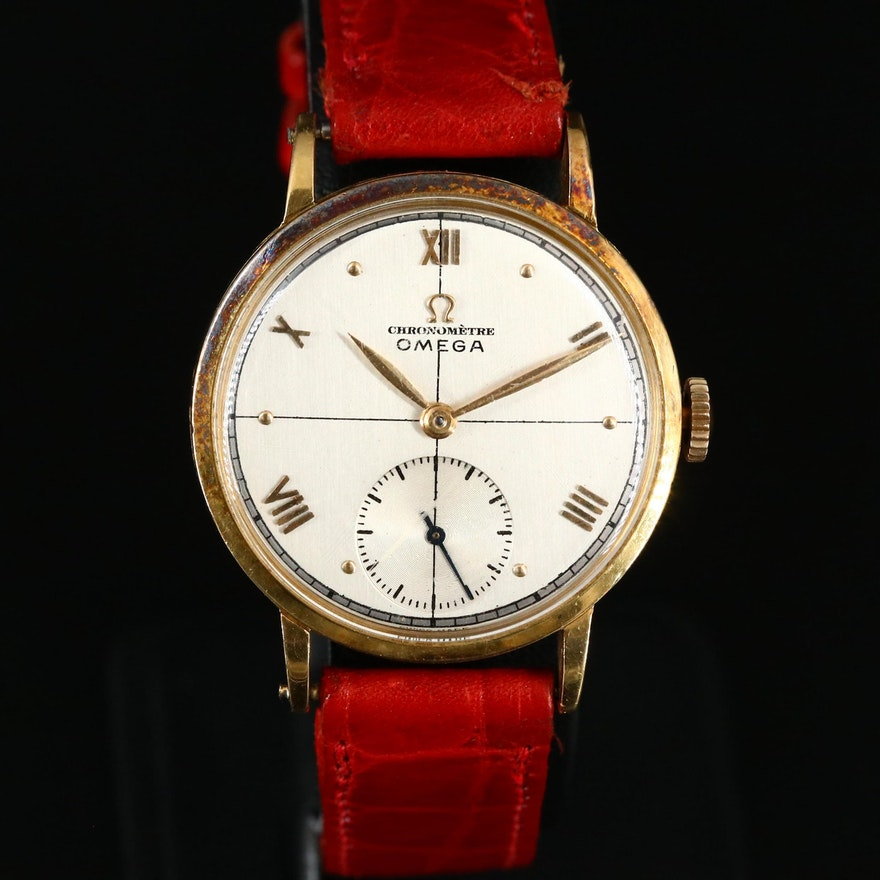 1944 Omega 18K Yellow Gold Stem Wind Wristwatch
