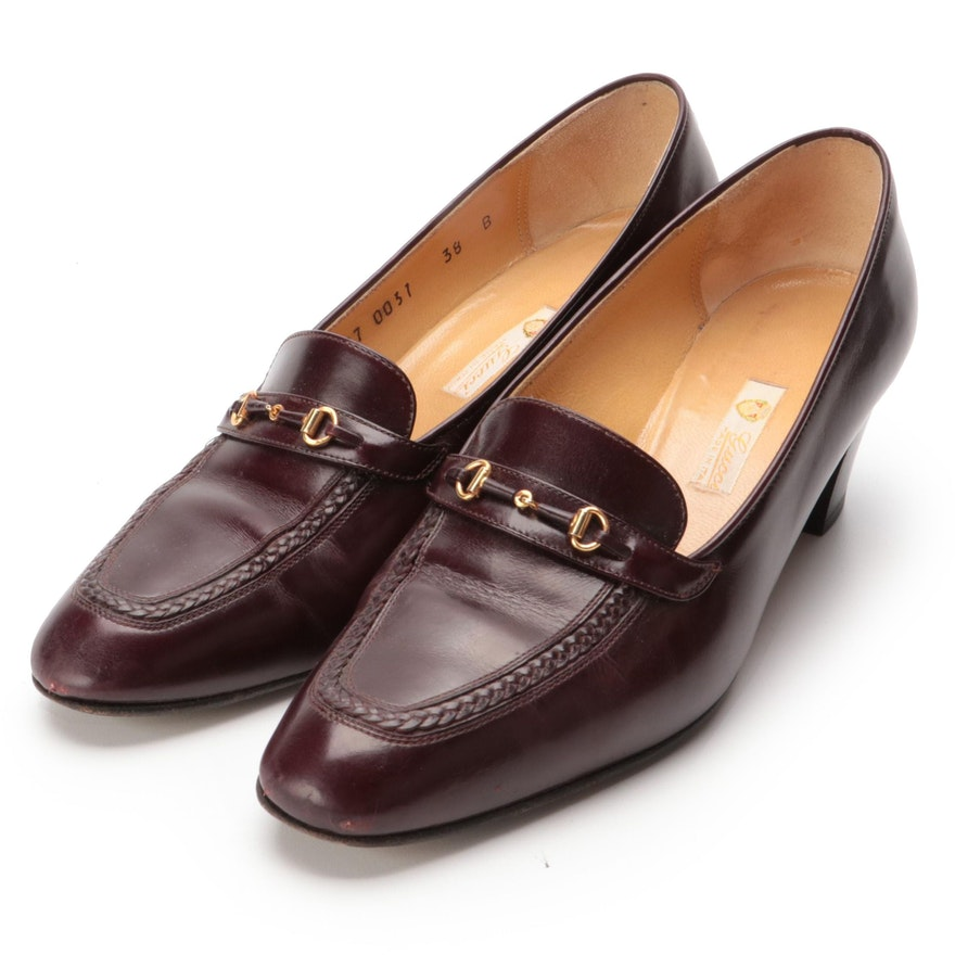 Gucci Horsebit Pumps in Brown Leather with Box