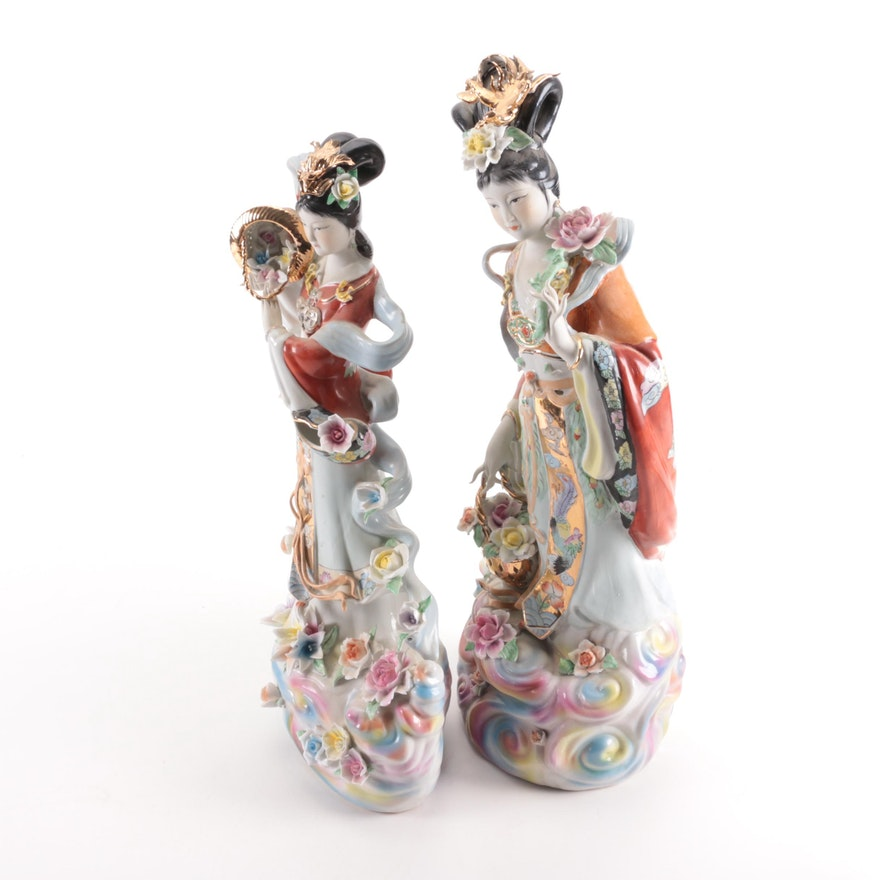 Pair of Chinese Porcelain Figurines, Late 20th Century