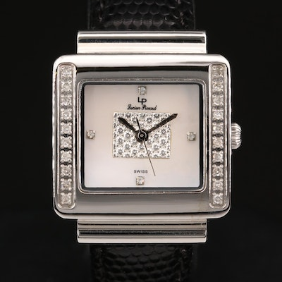 Lucien Piccard Diamond and Stainless Steel Wristwatch with Three Extra Bands