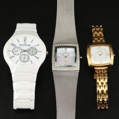 Three Skagen Denmark Stainless Steel Quartz Wristwatches