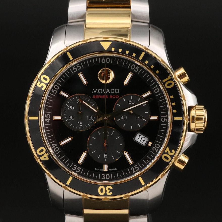 Movado Series 800 Chronograph Two Tone Stainless Steel Quartz Wristwatch