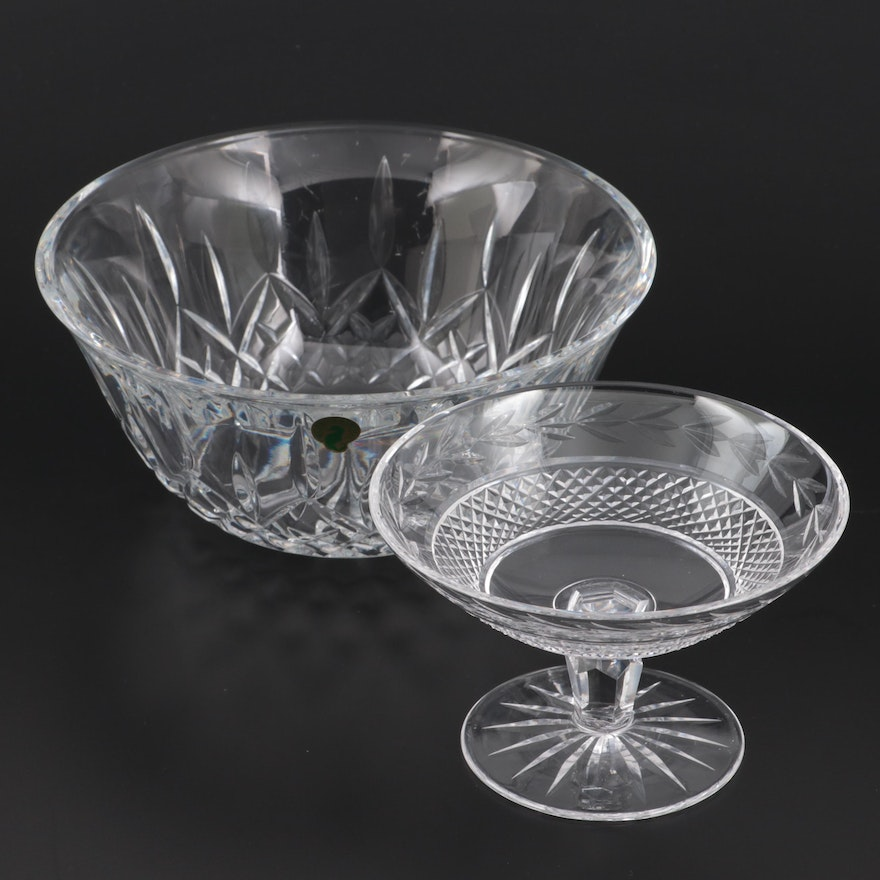 """Waterford Crystal """"Lismore"""" Salad Bowl with """"Glandore"""" Compote"""