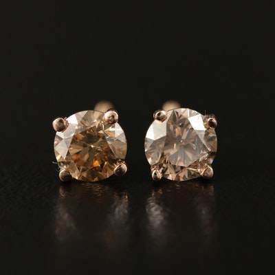 14K Rose Gold 1.05 CTW Diamond Stud Earrings