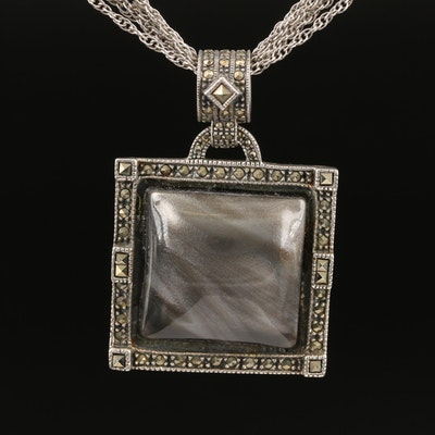 Judith Jack Sterling Marcasite and Resin Pendant Necklace