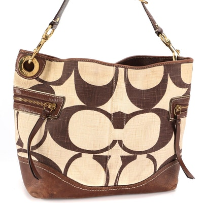 Coach Legacy Tote in CC Linen with Brown Leather Trim